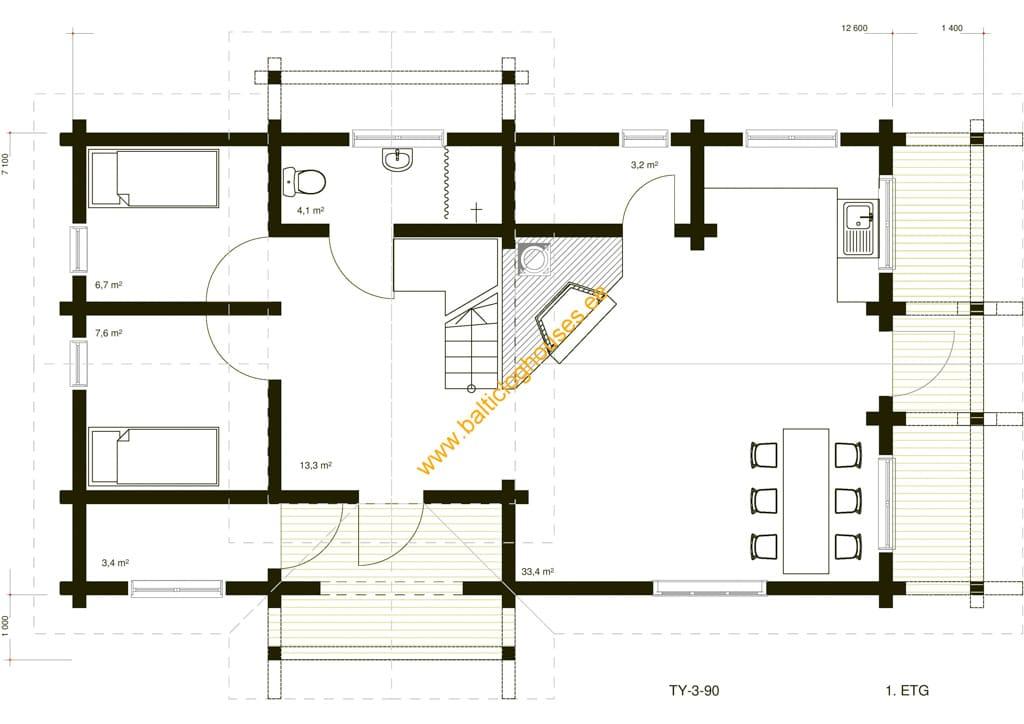 Baltic Loghouses, palkmaja projekt 90