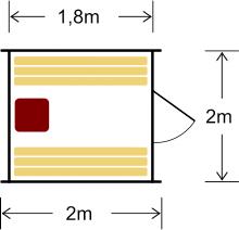 Ühe ruumiga tünnisaun 240 on sobiv kuni neljale saunalisele. Kahel saunalisel on võimalik leili võttes pikali heita