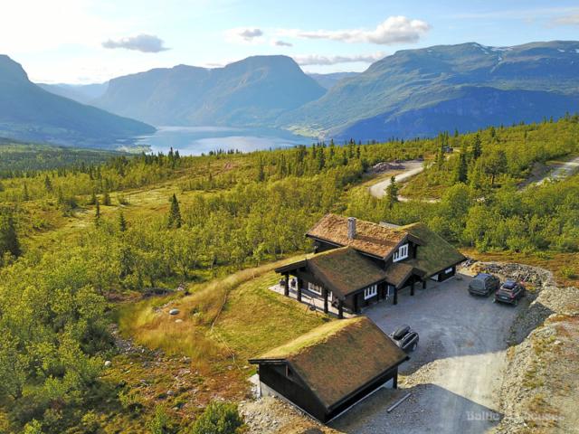 murukatusega käsitöö palkmaja Norras