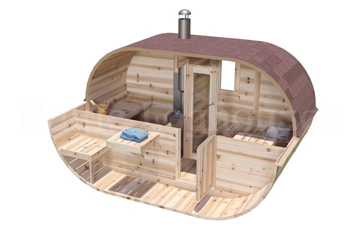 kahe kambriga torusaun ovaal saun 330, 3,3 m pikkune