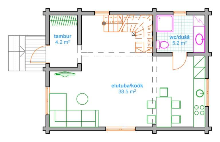 käsitöö palkmaja, anneks, laftehytte 77 esimene korrus