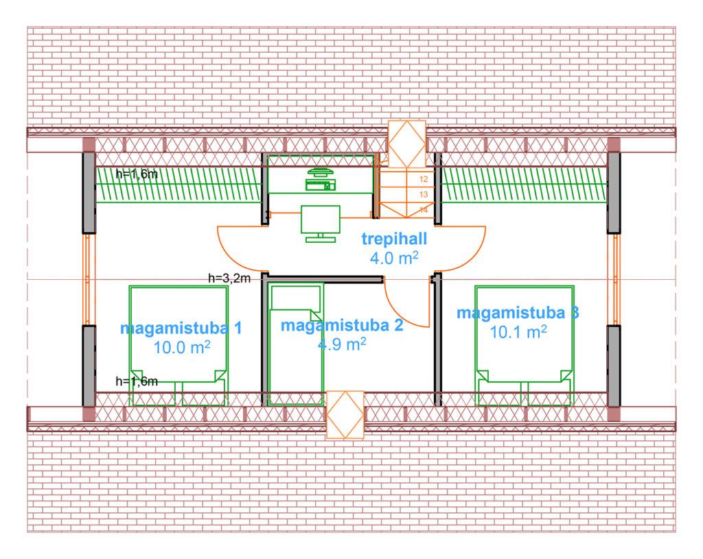 käsitöö palkmaja, anneks, laftehytte 77 teine korrus