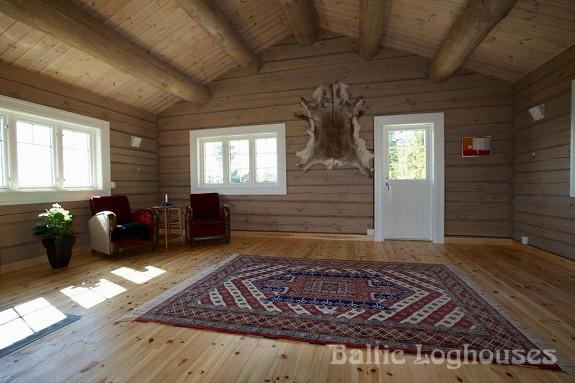 hand crafted log house käsitöö palkmaja, baltic loghouses. Elutuba. Laftehytte norras