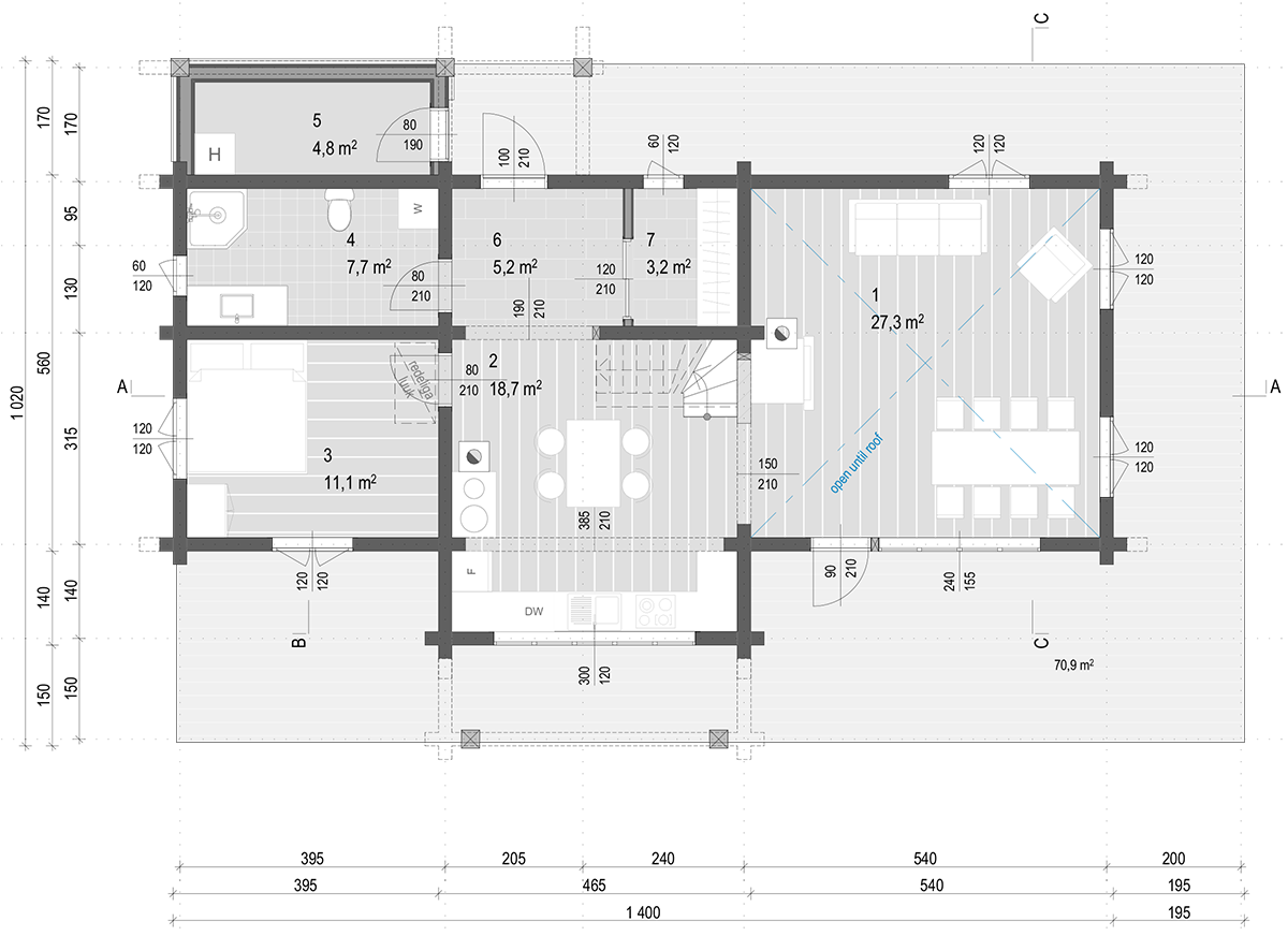 anneks laftehytte käsitöö palkmaja baltic loghouses maja alumine korrus