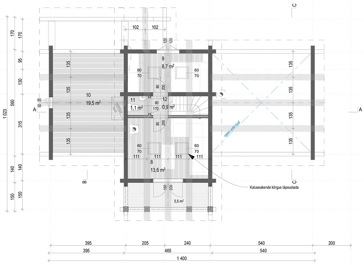 anneks laftehytte käsitöö palkmaja baltic loghouses maja ülemine korrus