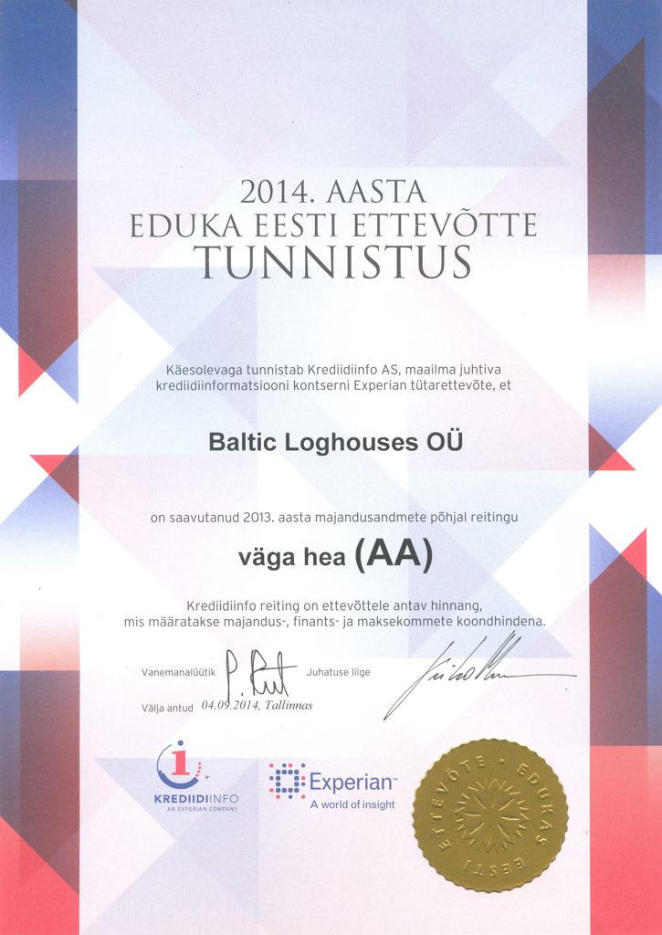 Baltic Log Houses certificate strongest in Estonia 2014
