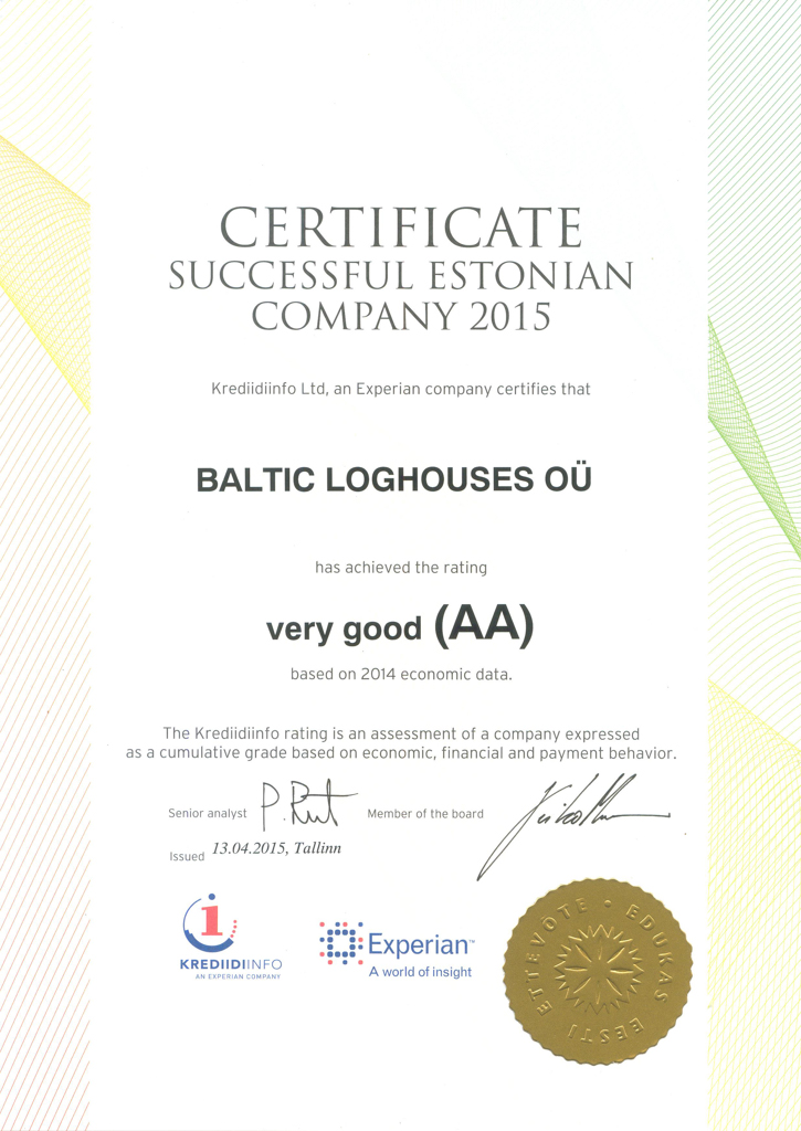 Baltic Log Houses certificate strongest in Estonia 2015