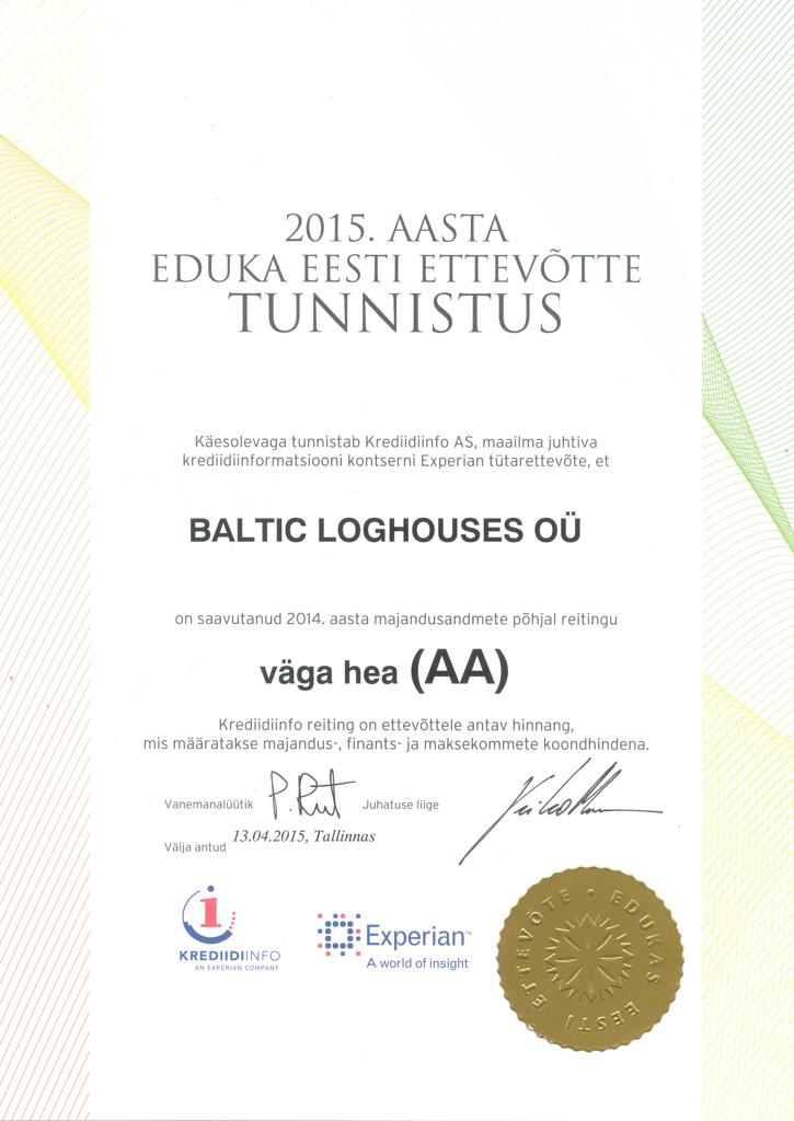 Baltic Log Houses certificate strongest in Estonia 2015