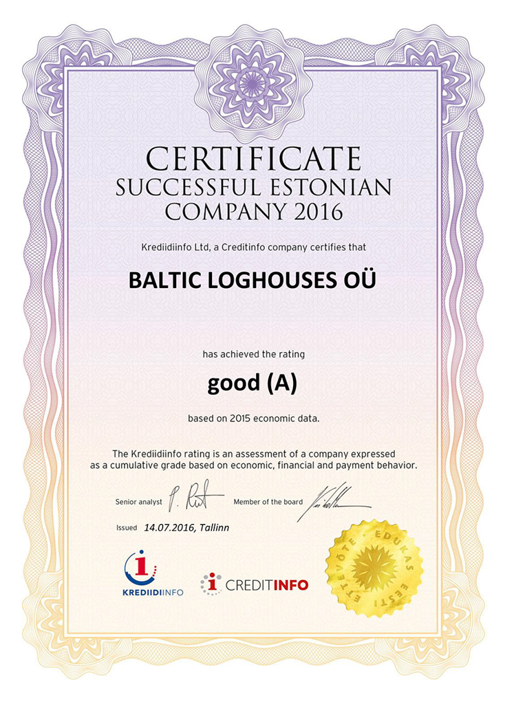 Baltic Log Houses certificate strongest in Estonia 2016