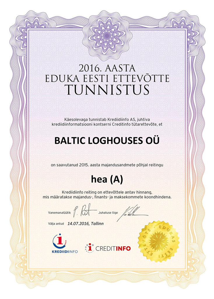 Baltic Log Houses certificate strongest in Estonia 2016v