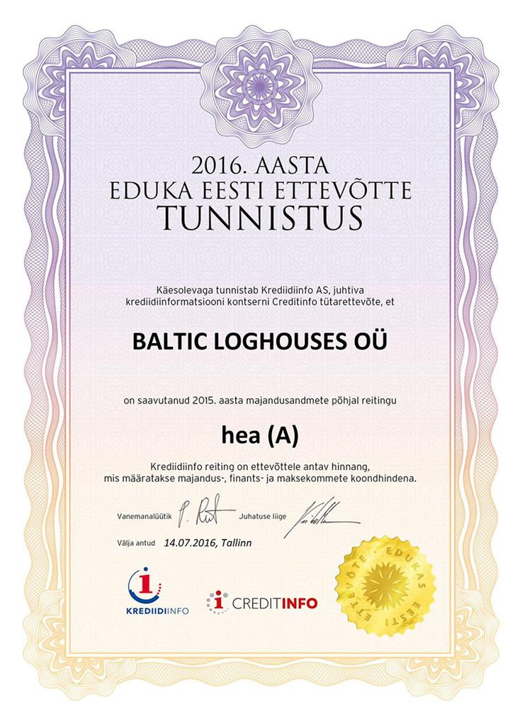 Baltic Log Houses certificate strongest in Estonia 2016v
