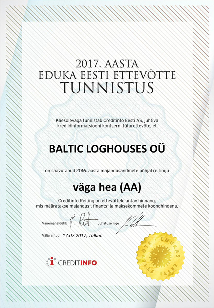 Baltic Log Houses certificate strongest in Estonia 2017