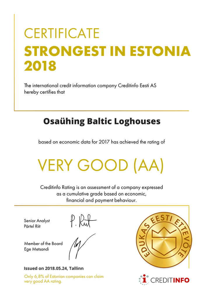 Baltic Log Houses certificate strongest in Estonia 2018