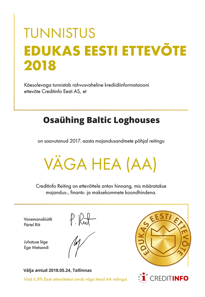 Baltic Log Houses certificate strongest in Estonia 2018