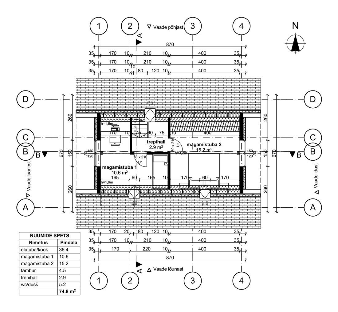 Kalasabatapiga palkarkass 75 m²